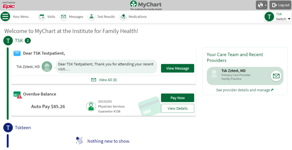 Screenshot of MyChart homepage after redesign
