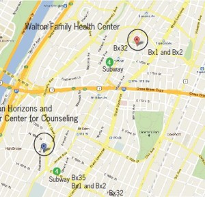 A map showing the River Center for Counseling now, and its new location at the Walton Family Health Center