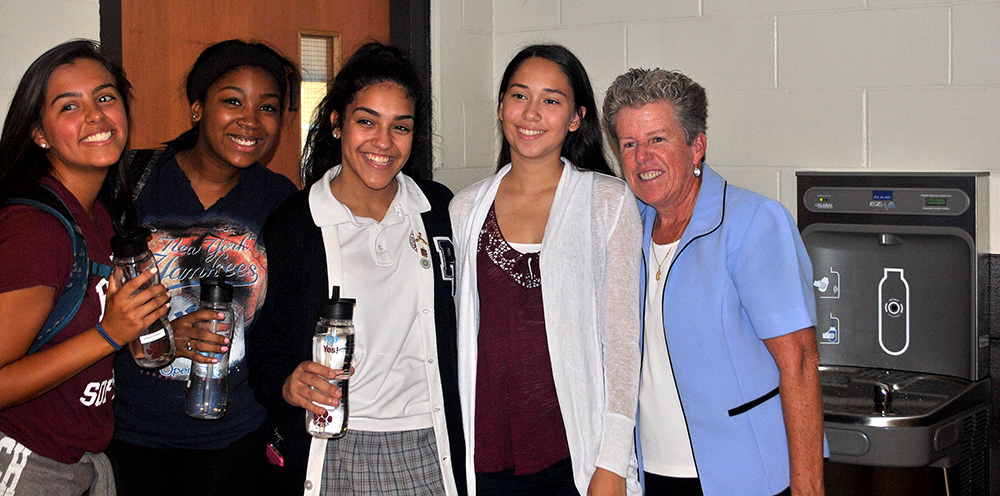 Bronx High School Students Celebrate the Installation of Three New Water Fountains