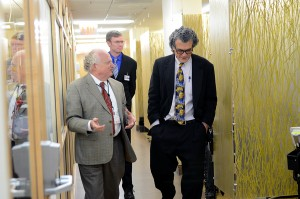 Dr. Perez-Stable tours the Family Health Center of Harlem with Institute president, Dr. Calman and Dr. Casey Crump.