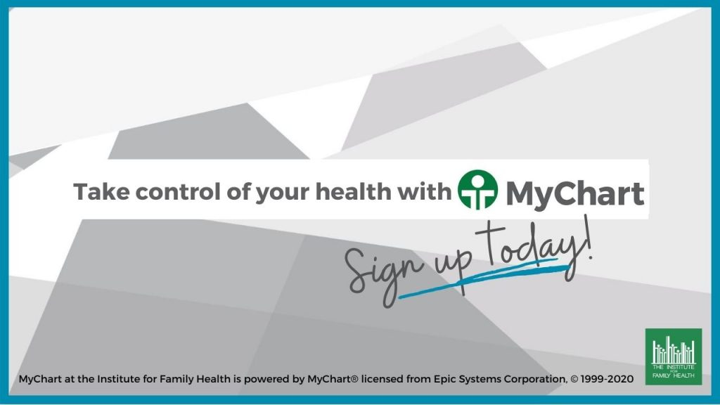 """Grey text on background of white and grey shapes that says """"Take control of your health with MyChart. Sign up today!"""""""