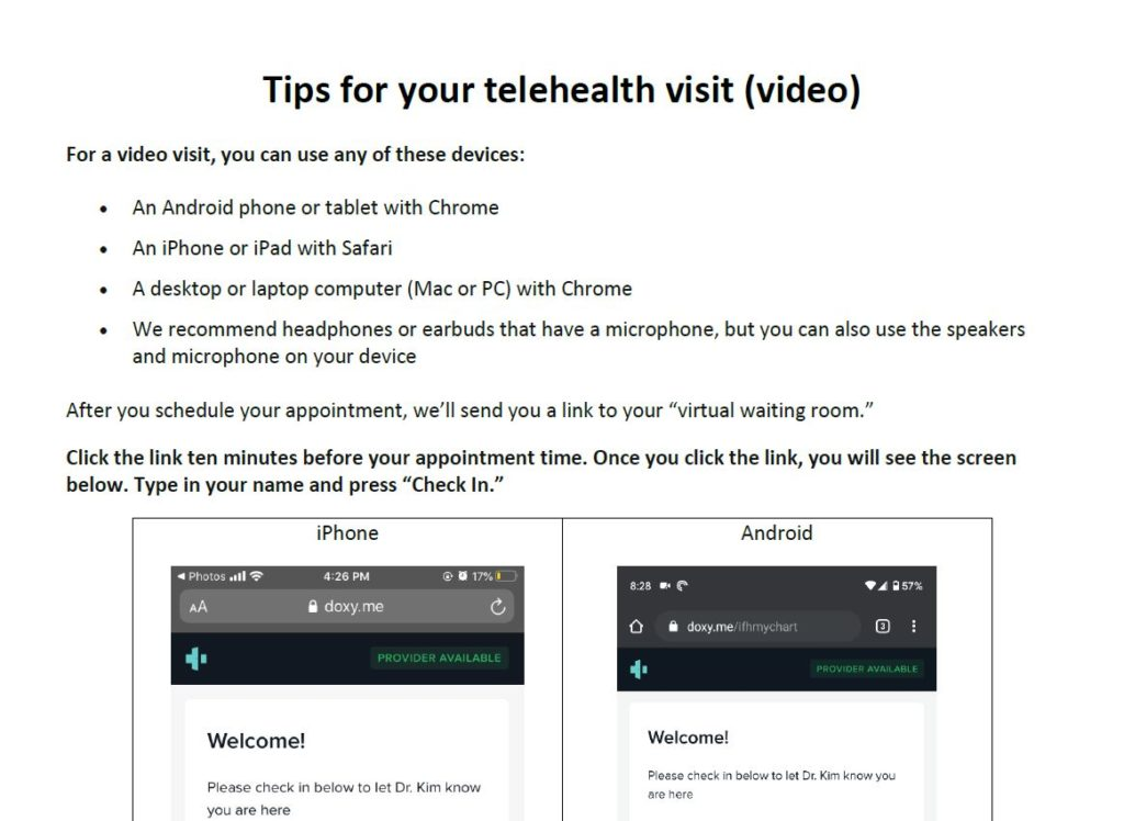 Screenshot of tip sheet about telehealth visits