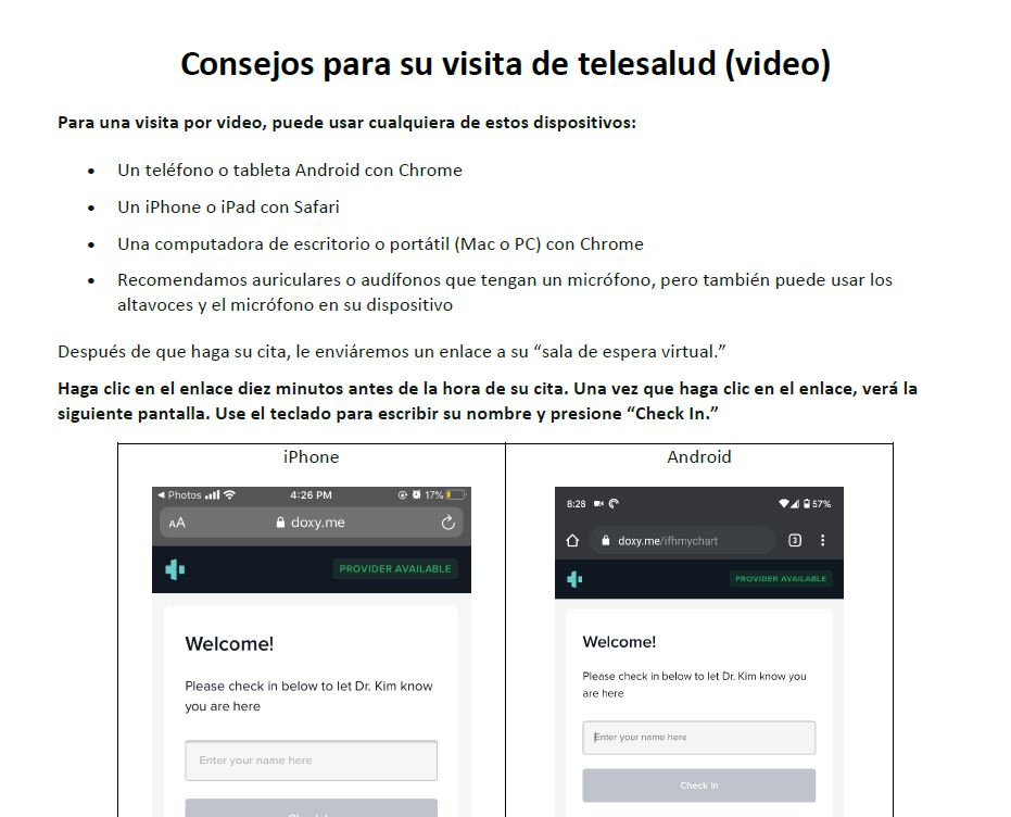 Screenshot of tip sheet about telehealth visits